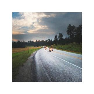 Lienzo Viaje por carretera - motocicletas en el Black
