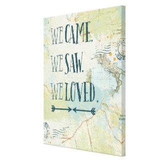 Lienzo Vinimos, vimos, amamos cita y el mapa