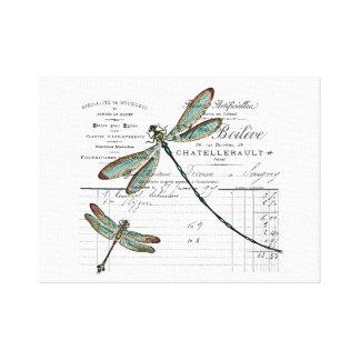 Lienzo Vintage, Retro diseño Francia - libélula, insecto