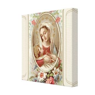 Lienzo Virgen Madonna Maria con los rosas de Jesús del