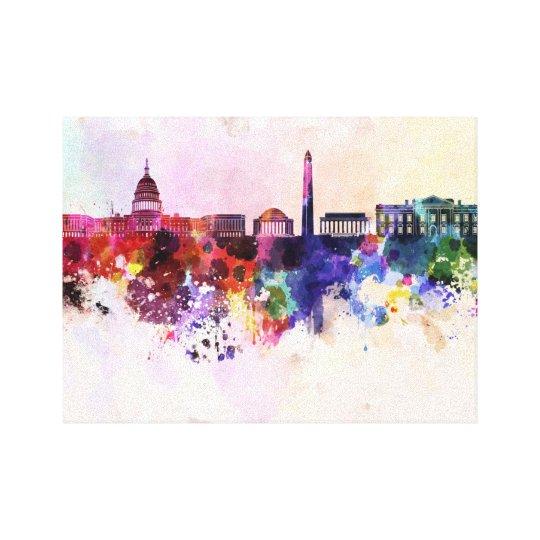 Lienzo Washington DC skyline in watercolor background