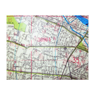 Lienzo WHITE PLAINS, mapa del vintage de NY