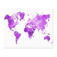 World map in watercolor 08 Purple