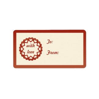 Ligado por el amor a/desde etiquetas etiqueta de dirección