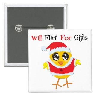 Ligará para los regalos - polluelo lindo de Santa Chapa Cuadrada 5 Cm