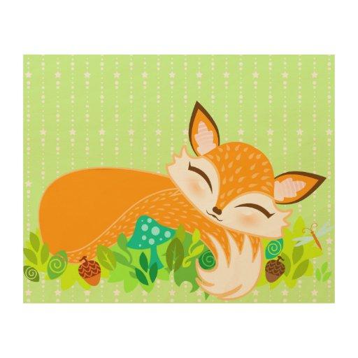 Lil Foxie Cub Impresión En Madera