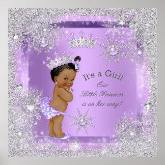 Lila de la princesa fiesta de bienvenida al bebé póster