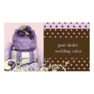 Lila/lavanda/torta de chocolate, panadería tarjetas de visita
