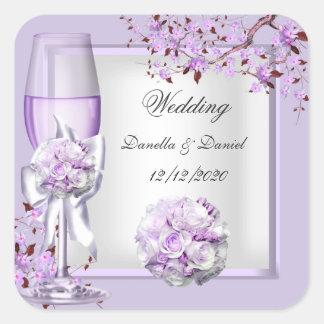 Lila púrpura 4 de la lavanda elegante del boda calcomanías cuadradass personalizadas