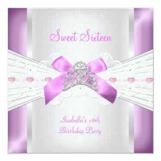 Lila rosada de la tiara del dulce 16 del dulce anuncio personalizado