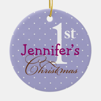 Lilac polka dots purple name baby first holiday ornaments