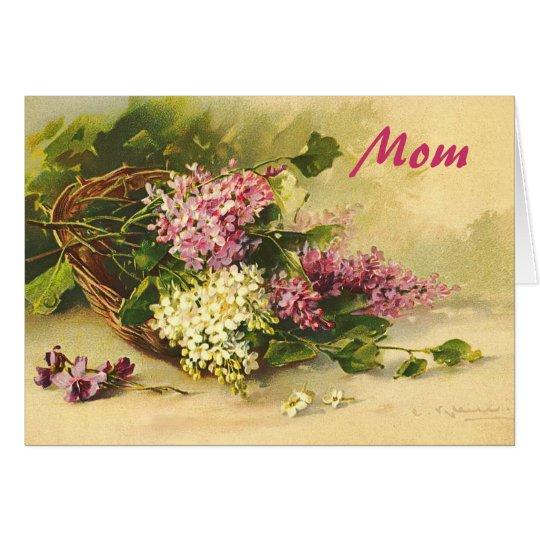 Lilas en un día de madre de la cesta tarjeta de felicitación