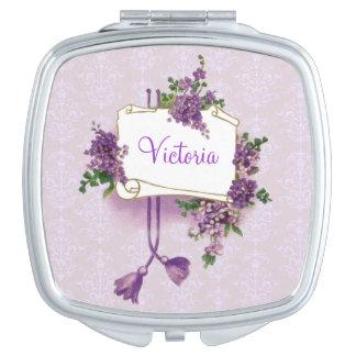 Lilas personalizadas femeninas del vintage espejos para el bolso