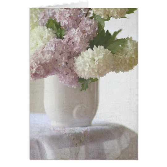 Lilas y hydrangeas tarjeta de felicitación