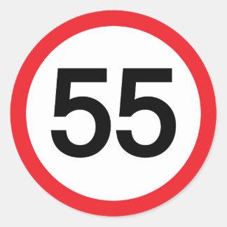 límite de velocidad cincuenta y cinco pegatina redonda