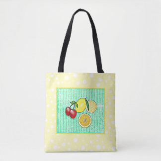 Limón, la bolsa de asas del amarillo de la verde
