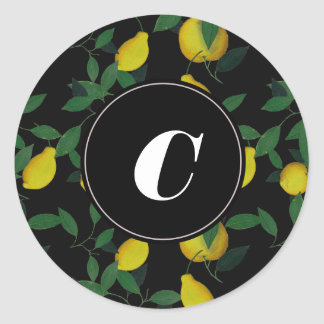 Limón tropical pegatina redonda