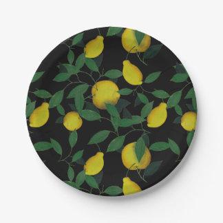 Limón tropical platos de papel