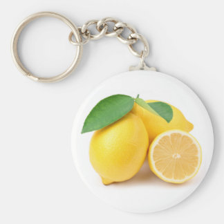 Limones amarillos brillantes y frescos llavero