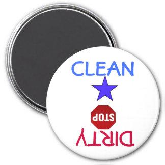 Limpie los platos sucios en lavaplatos imán redondo 7 cm