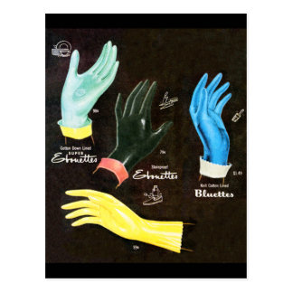 Limpieza de goma de los guantes del kitsch 60s del postal