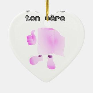 limpio a tu padre adorno navideño de cerámica en forma de corazón