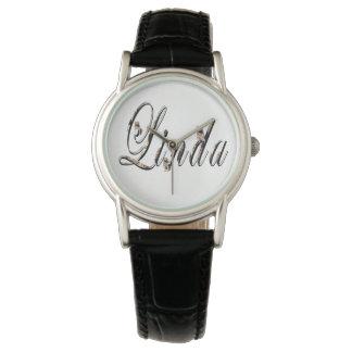 Linda, nombre, logotipo, reloj de cuero negro de