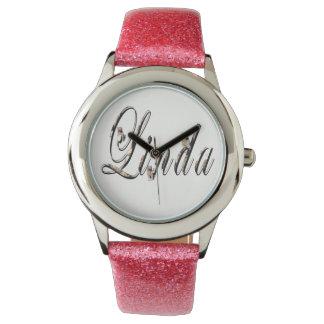 Linda, nombre, logotipo, reloj del brillo del rosa
