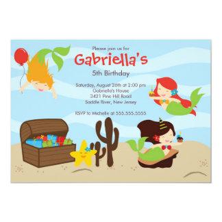 Lindo bajo fiesta de cumpleaños de la sirena del invitación 12,7 x 17,8 cm
