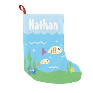 Lindo debajo del acuario del océano del mar añada calcetín navideño pequeño