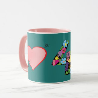 Lindo femenino de la turquesa rosada floral del taza