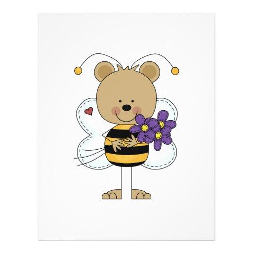 lindo manosee el oso de la abeja con las flores pú tarjetas informativas
