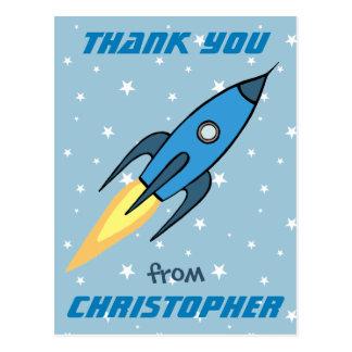 Lindos retros azules de Rocketship personalizados Postal