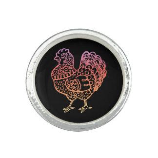 Línea adornada arte del pollo anillo con foto