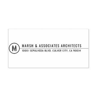 Línea arquitectónica mínima monograma del título sello automático