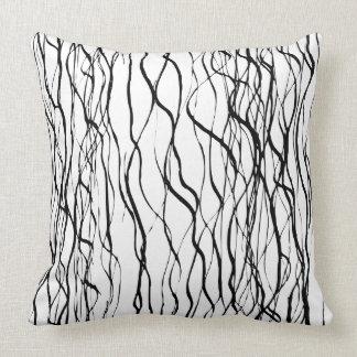 Línea arte gráfica blanco y negro contemporánea cojín decorativo
