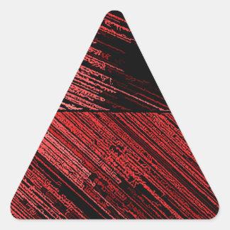 Línea arte - las rayas rojas del rasguño en lona pegatina triangular