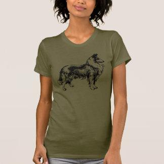 Línea áspera camiseta de color caqui para mujer de