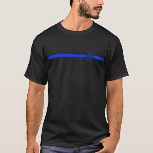 línea azul fina del monograma de encargo del camiseta