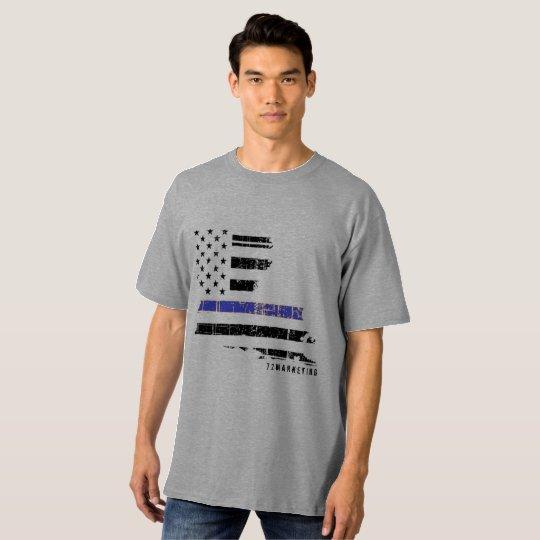 línea azul fina gris camisa grande y alta de