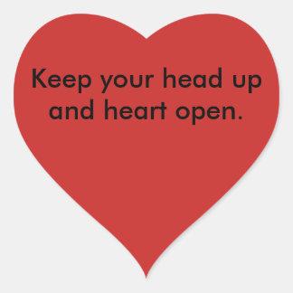 Línea cabeza del estímulo para arriba pegatina en forma de corazón