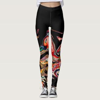 Línea colorida abstracta leggings