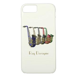 Línea colorida de cinco saxofones funda iPhone 7
