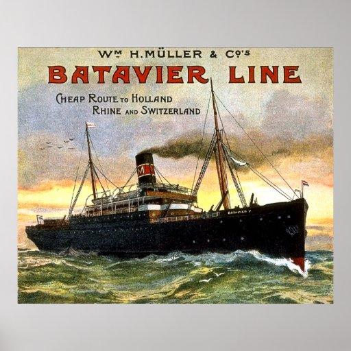 Línea de Batavier - poster del viaje del vintage