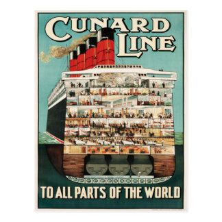 Línea de Cunard (a todas las partes del mundo) pos Tarjetas Postales