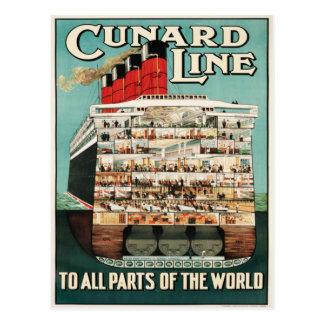 Línea de Cunard (a todas las partes del mundo) Postal