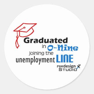 Línea de desempleo de O-nine Pegatina Redonda