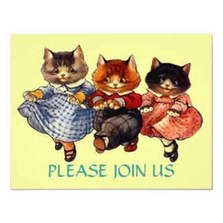 Línea de gatos feliz invitación del baile del