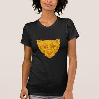Línea de la cabeza del león de montaña del puma camiseta