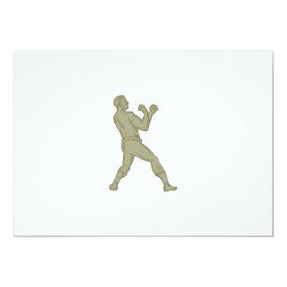 Línea de la postura del boxeador del vintage que invitación 12,7 x 17,8 cm
